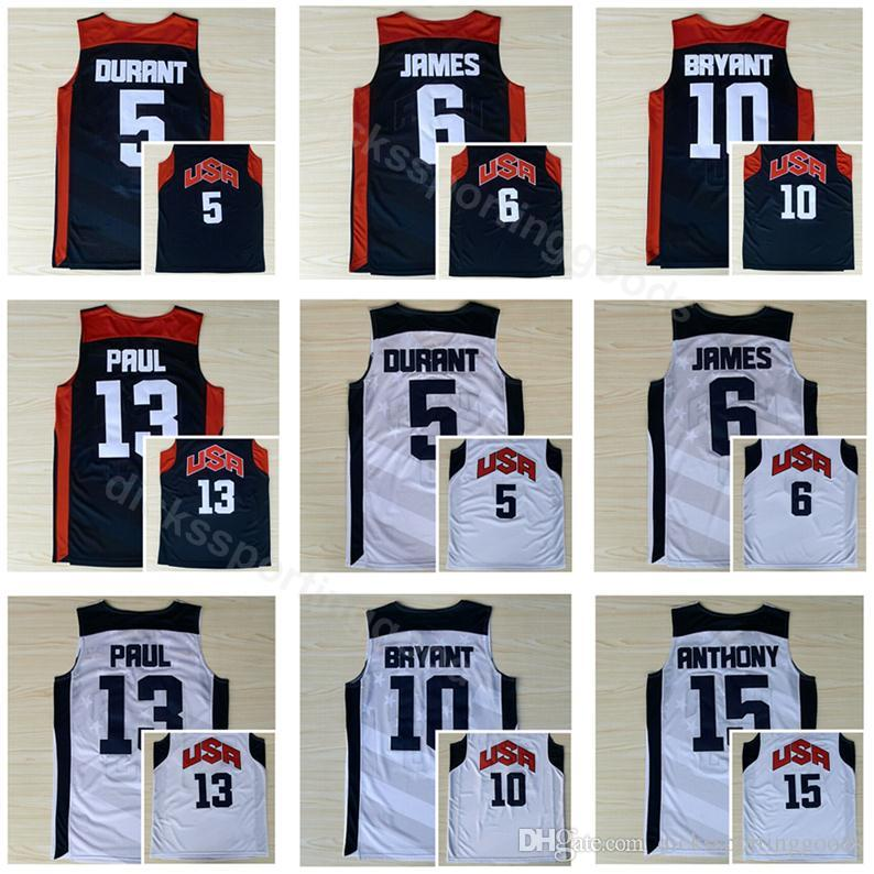 b15023e7a73 ... authentic 2019 college 2012 usa basketball jerseys dream team ten 5 kevin  durant 6 lebron james