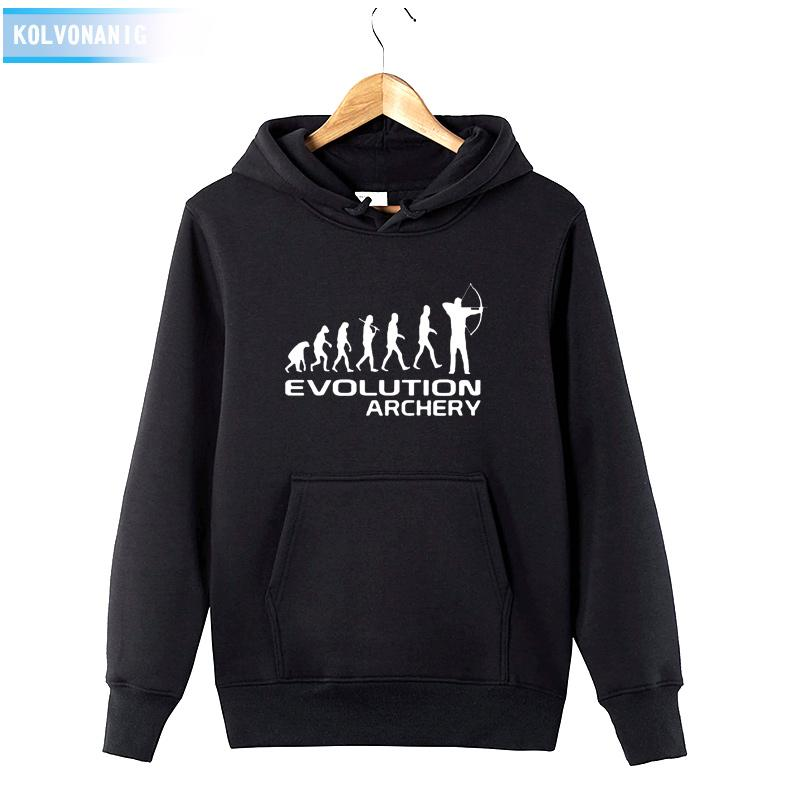a1e233526d HUMAN EVOLUTION ARCHERY Printed Sweatshirt Tracksuit For Men s Winter Dress  2018 Long Sleeve Hat Hoodies Cotton Funny Pullover