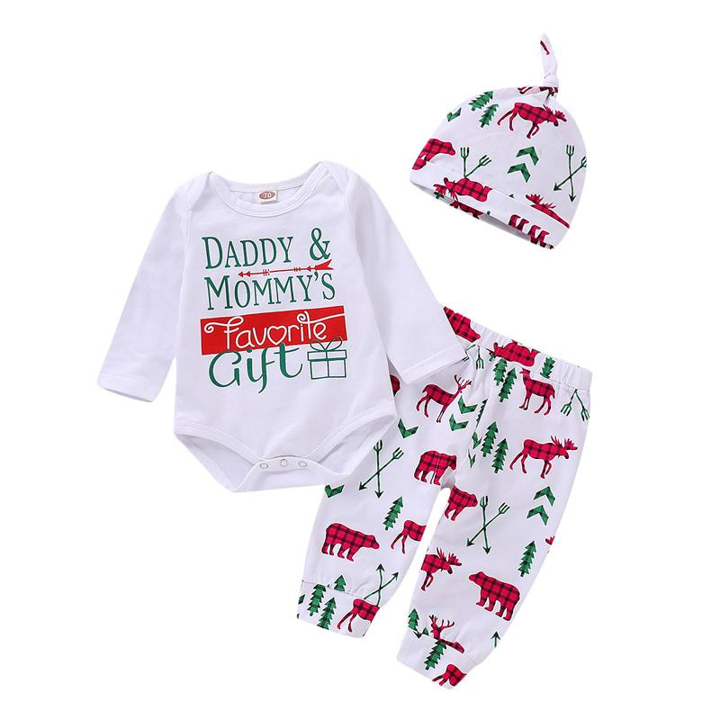 d5b9def53 2019 FOCUSNORM New Christmas Newborn Baby Boy Girls Set Cotton Print ...