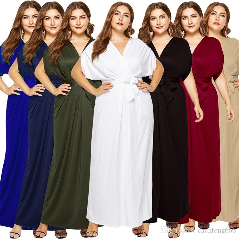9b42c3d8248 Big-size New Women s Sexy Solid-color V-neck Loose-fitting Irregular ...