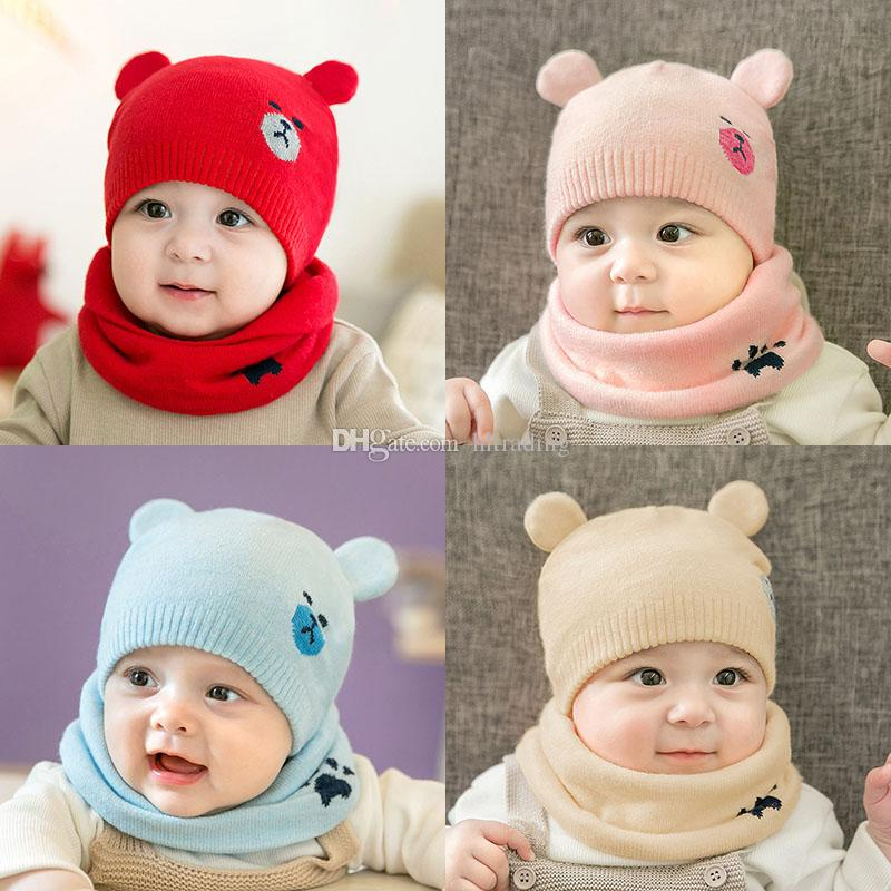 Children Bear Crochet Knitted Caps And Scarf Winter Warm Earflap Suit Set Baby Toddler Warm Kids Cute Pattern Beanies Hat Set M398