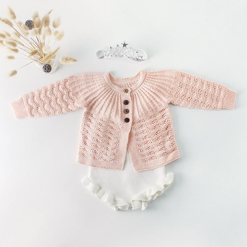 Autumn Baby kids Princess sweater cardigan infant boys single breasted long sleeve Tops girls knitted falbala jumpsuits girl Romper Y2561