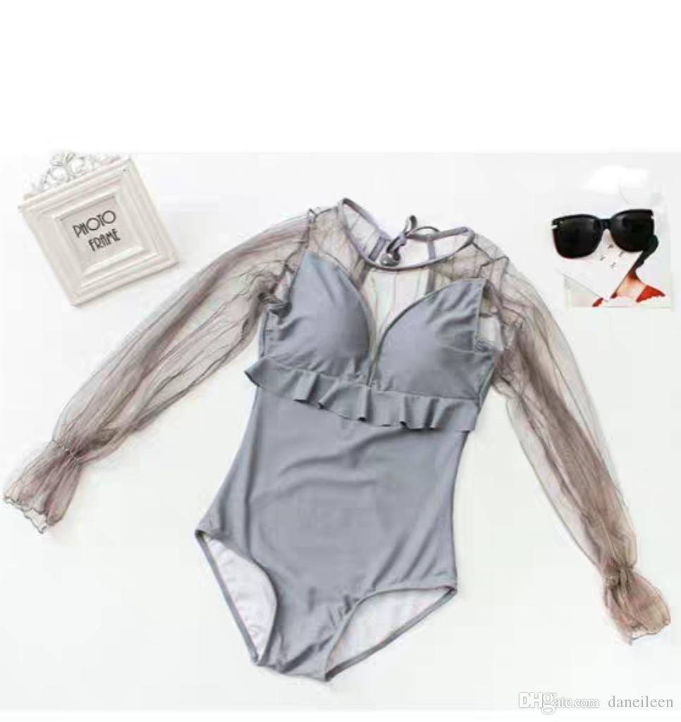21d1ee69b845 DE Nuevas fotos de diseño Traje de baño para mujer de una pieza Vestido de  baño de moda Color gris Trajes de baño de talla grande Especial Atrás