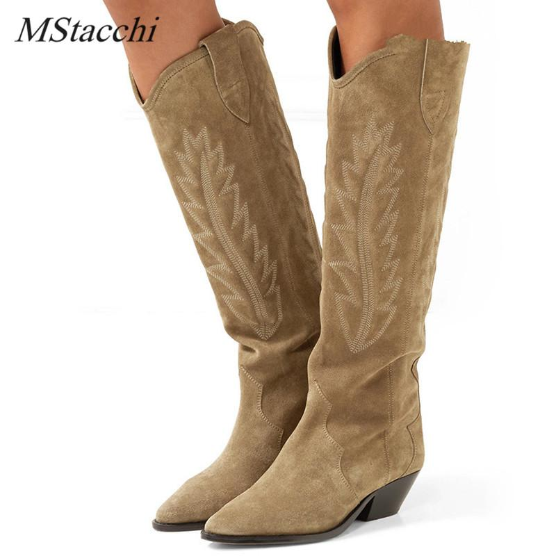 11edbd117ade MStacchi Nude Black Suede Embroidered Knee High Boots Women Pointy Toe  Spike Kitten Heels Winter Long Boots Flats Knight Ladies Shoes Moon Boots  From ...