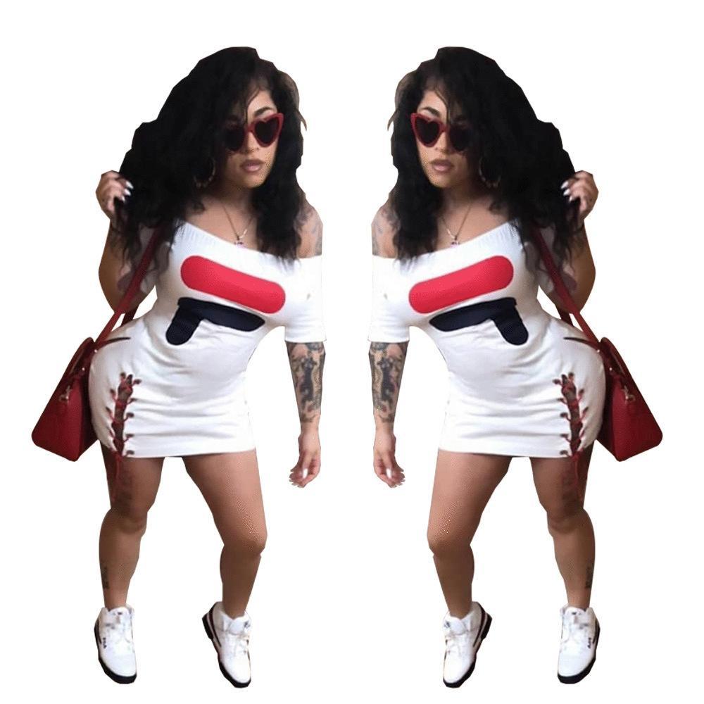 8c5c42b6f0 Compre HY5001 Europeu E Americano Caráter Moda Das Mulheres High End  Explosões Carta Impressa Vestido De Alça De Yulin58