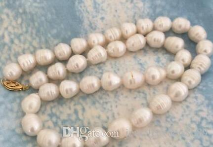 natural 11-12mm white baroque pearl necklace 18inch