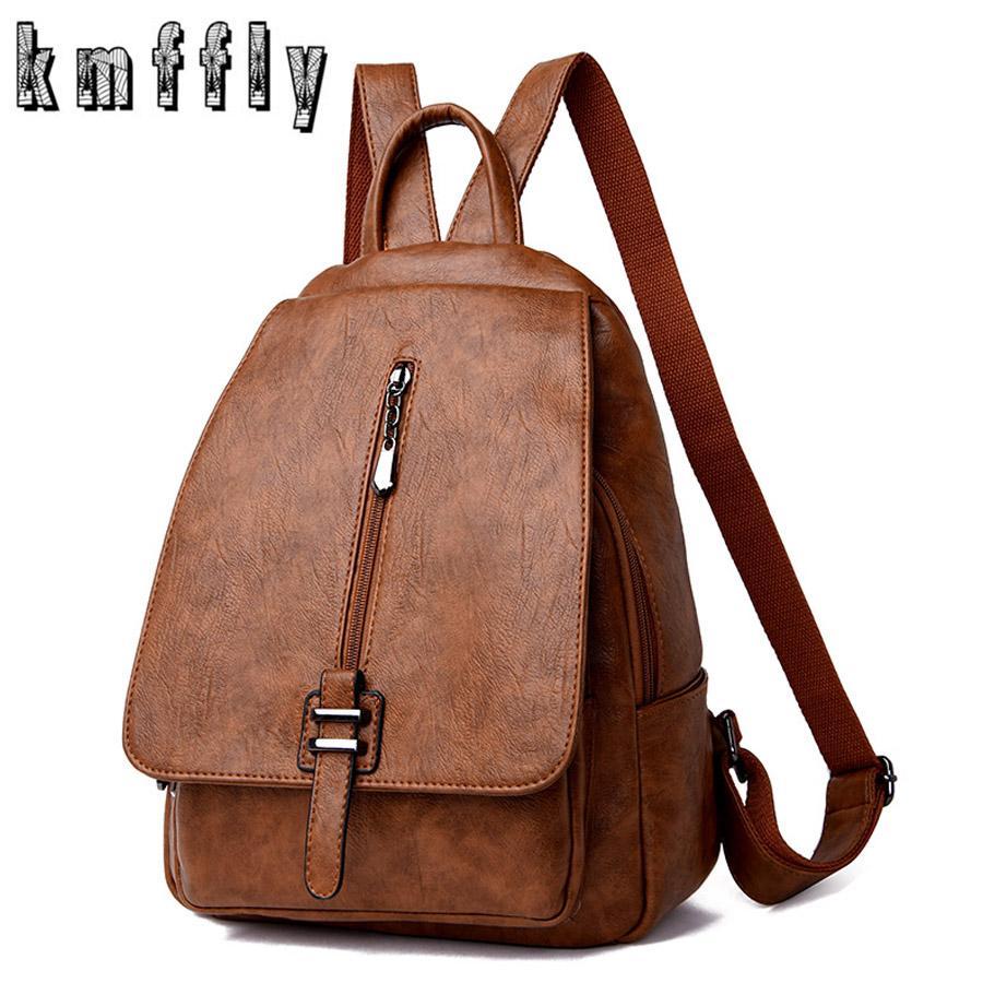 dd4e6acc78a6 2019 Women Leather Backpacks Vintage Female Shoulder Bag Sac a Dos Travel  Ladies Bagpack Mochilas School Bags For Girls Preppy
