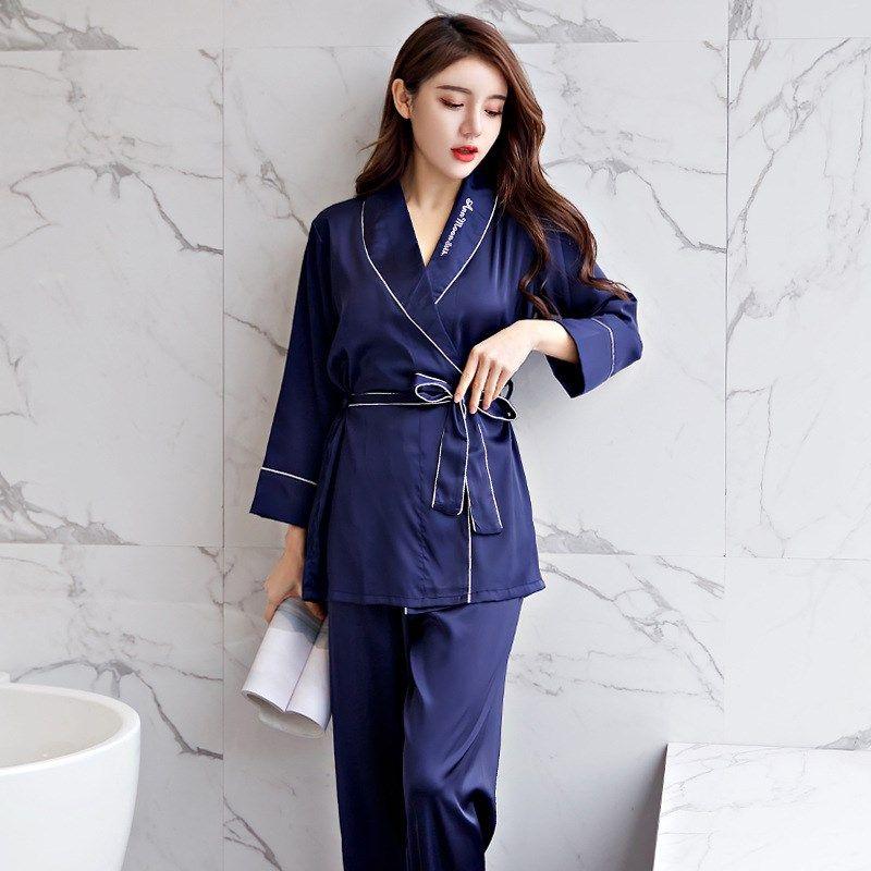 Silk Satin Robes Sets for Women 2019 Spring Fashion Long Sleeve Pajama  Femme Bathrobe Homewear Pajama Sets Cheap Pajama Sets Silk Satin Robes Sets  for Women ... 380b28032