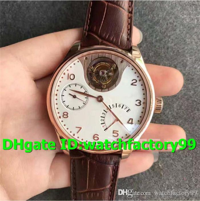 TF New Luxury 504202 Watch Swiss Seagull Automatic Power reserve Tourbillon 18K Rosegold Case White Dial Brown Leather Strap Mens Watch