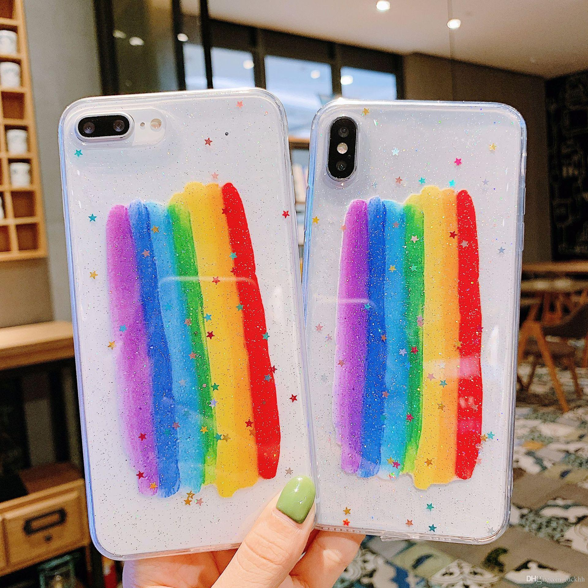 For Iphone 11 Pro Xs Max Xr Star Rainbow Phone Case 6 7 8 X Plus Hard Back Soft Side Cell Phone Cases
