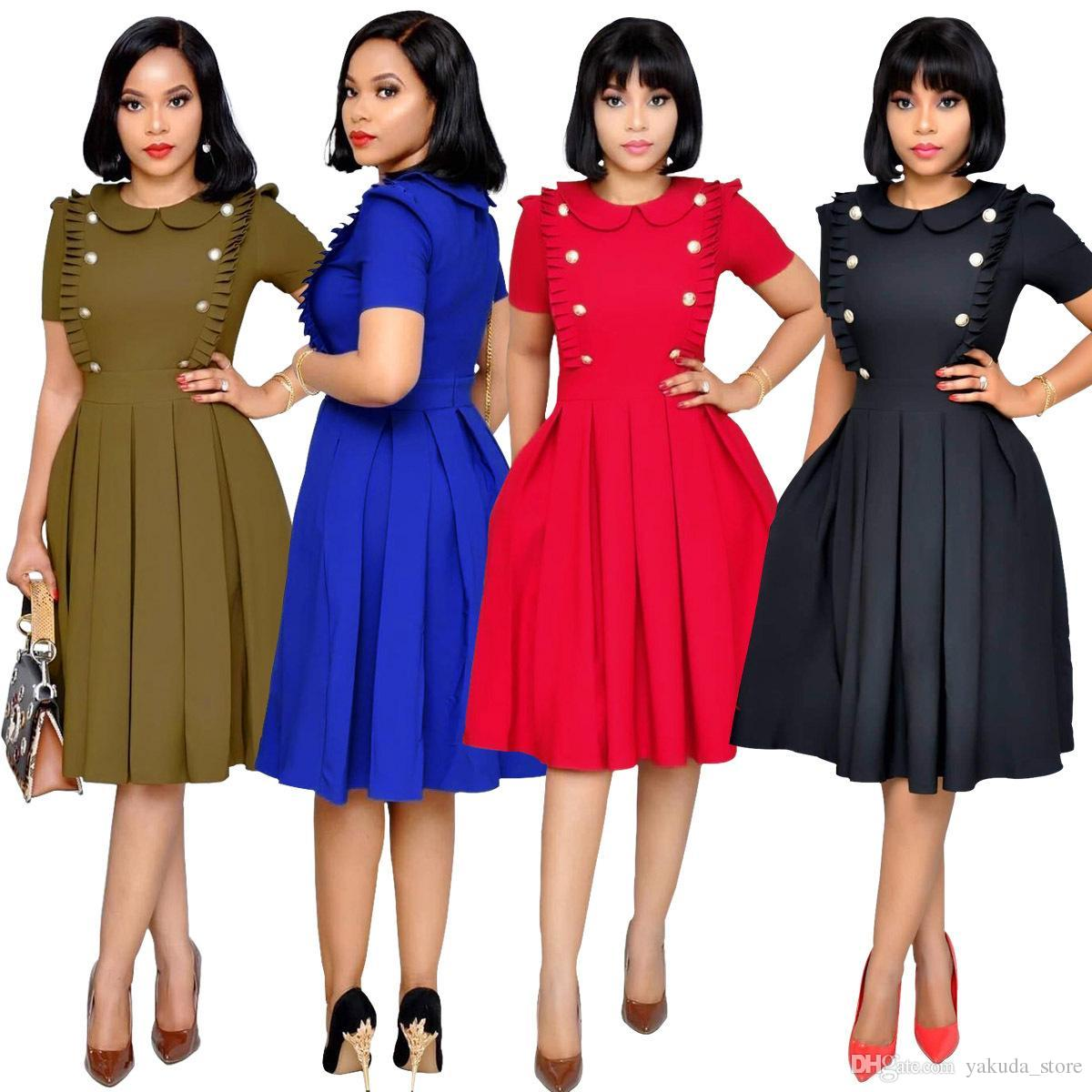 Office Lady Style Regular Pleated Dress Summer Peter Pan Collar Short Sleeve Solid Dress Double Breasted Empire XXL Red Dress