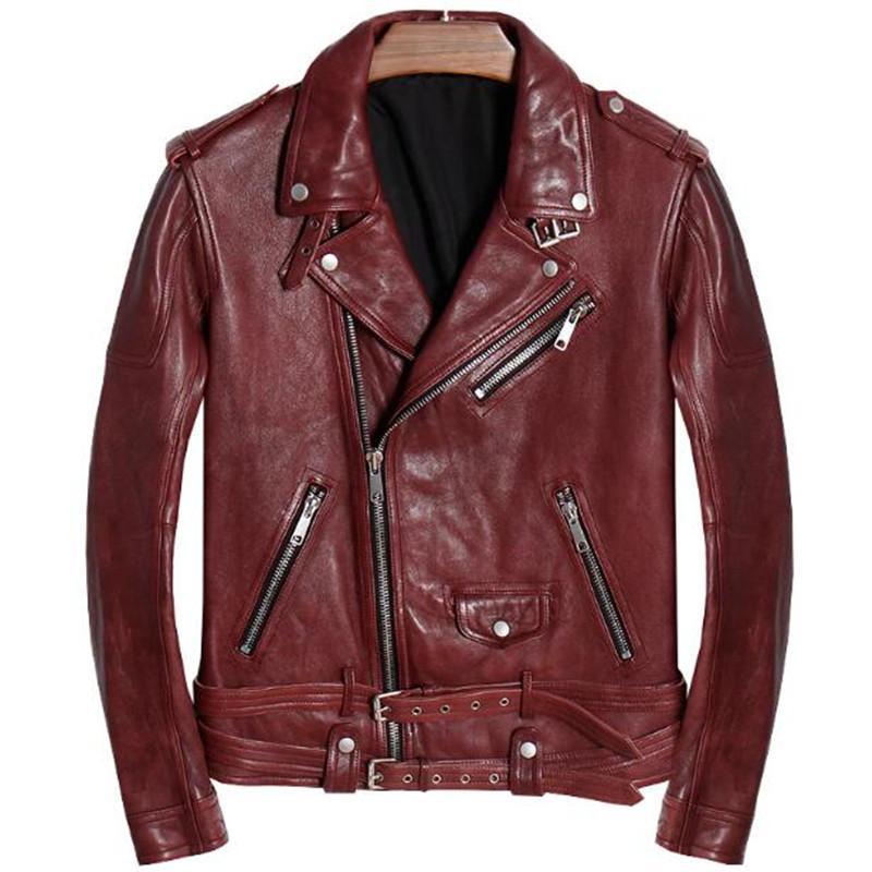 reputable site 28639 cb341 Giubbotti da uomo in vera pelle e cappotti con cinture invernale in pelle  di pecora di motocicletta Solid Red Color 2018 Luxury Brand Windbreaker Top