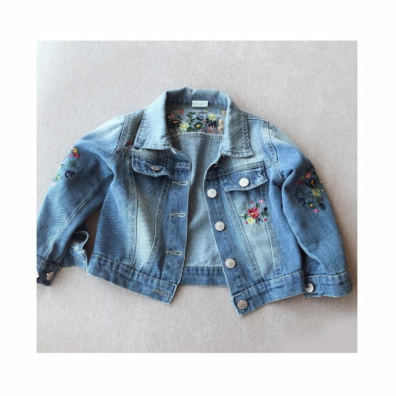 WLG girls spring autumn casual jackets kids embroidery denim blue coats baby single breasted floral clothes children 2-6 years