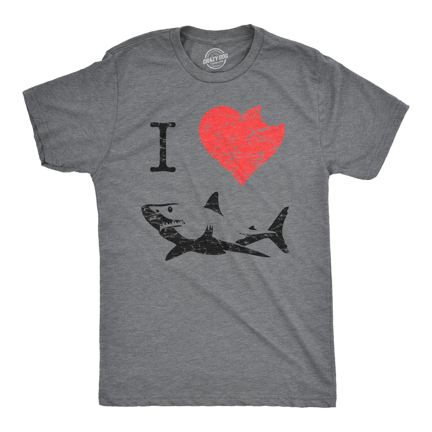 aad48d3a I Love Sharks T Shirt Heart Classic Shark Bite Ocean Great White Tee  Fashion Style Men Tee 2019 Fashion T Shirt, Print On Tee Shirt Go T Shirts  From ...