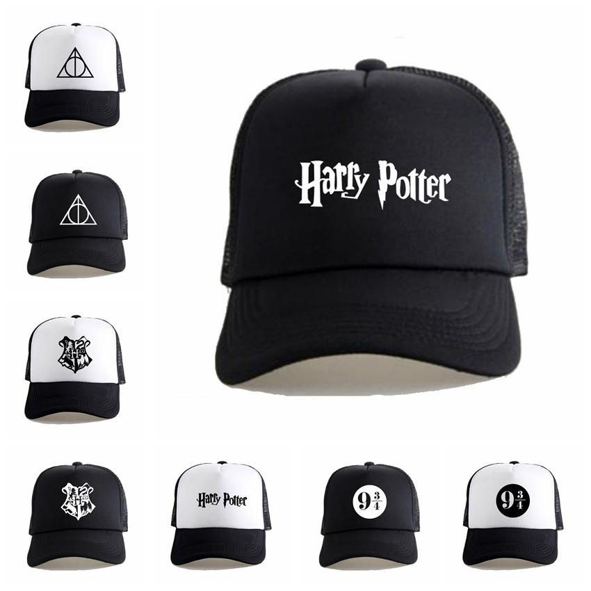 Harry Potter Deathly Hallows Hat Fashion Mesh Trucker Cap Creative Snapback Baseball Hat Unisex Cosplay Costume Caps TTA780