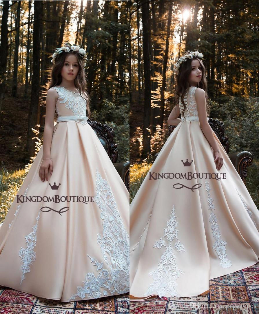 2a30810622f6 New Appliqued Flower Girl Dresses 2019 Champagne Lace Ball Gown Girl ...
