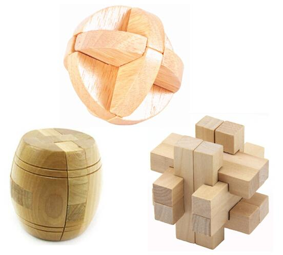 3pcs/lot Iq Test Wooden Brain Teaser Interlocking Burr Puzzle Game Toy For  Adults And Kids
