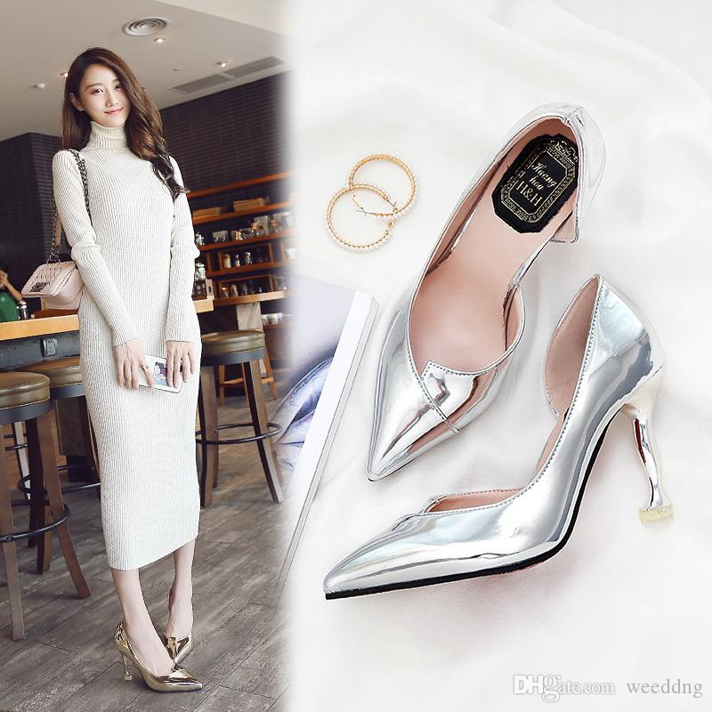 3cbae2eb74a New 9cm Silver High Heeled Shoes With Pointed Toes Thin Heel Women ...
