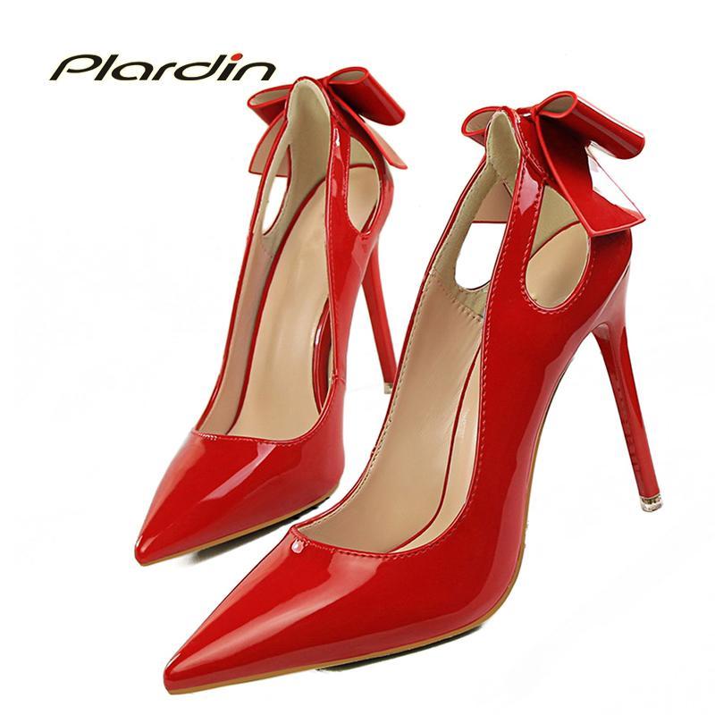 3b6289653 Compre Vestido Plardin Novas Mulheres Bombas De Casamento Mulher Senhoras  Sapatos Femininos Doce Conciso Recortes Raso Borboleta Nó Mulheres Sapatos  De ...