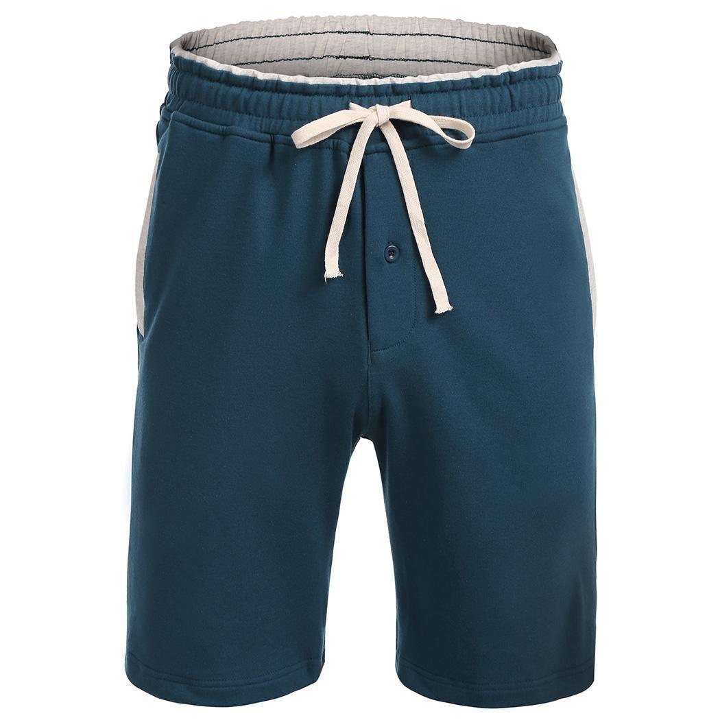 4babd8a4f0 Compre Pantalones Cortos Pantalones Oscuros Con Cordón Negro Patchwork Azul  Marino Cintura Elástica Hombre Gris Pijama Lateral Bolsillo Casual Natural  A ...