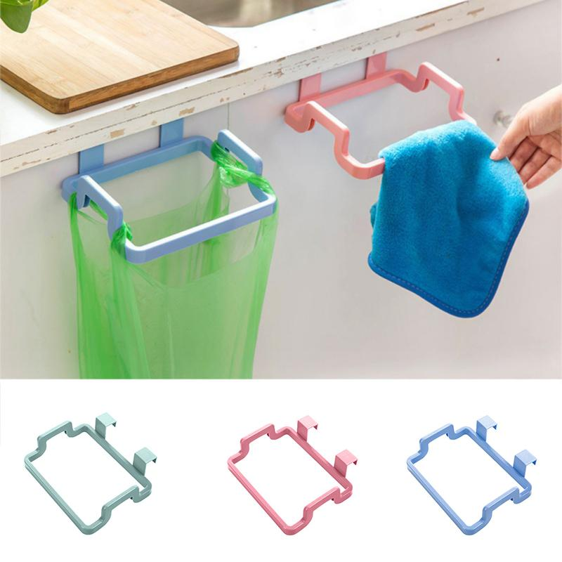 4Colors Eco-feiendly Kitchen Door Back Hanging Style Cabinet Stand Trash Garbage Bags Support
