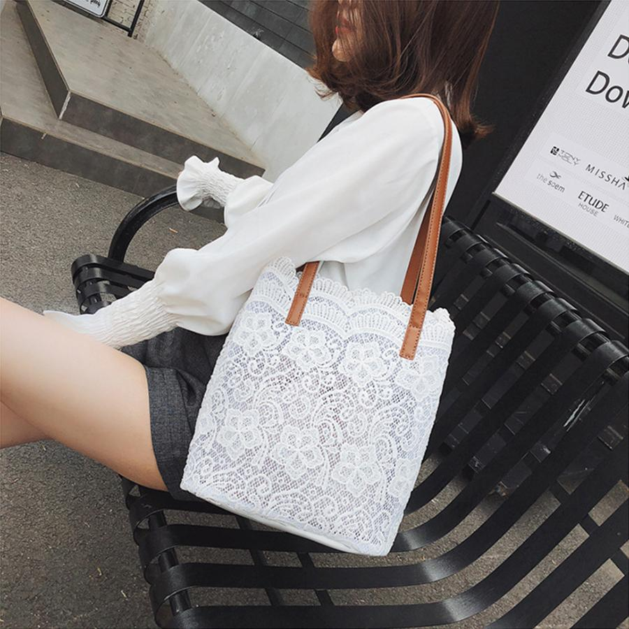good quality Vintage Lace Handbags Women Cute Shopping Bucket Bag Casual Tote Hollow Out Flowers High Capacity Phone Pocket Female Sac