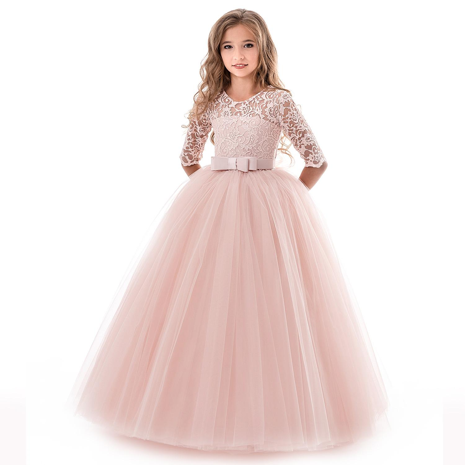 aadd34d86d7 Cheap Pink Flower Girls Dresses For Wedding Lace Applique Ruffles Kids  Formal Wear Long Beach Ball Little Girl Pageant Gowns 2019 Purple Dresses  For Girls ...