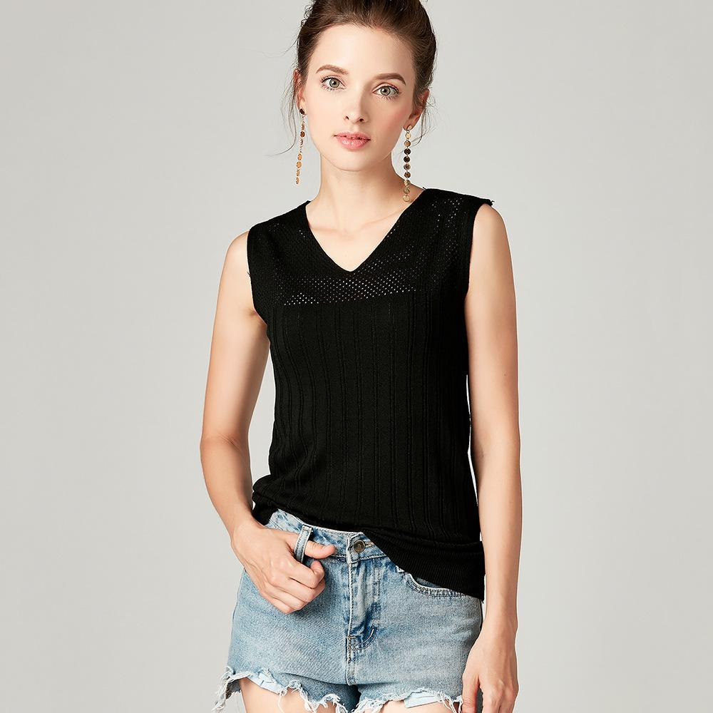 1b0a70218b 2019 Ice Silk V Neck Knit Vest Camisole For Women Outer Wear Black & White  Sleeveless Thin Shirt Spring And Summer Knit Tank Top From Zhongni, ...