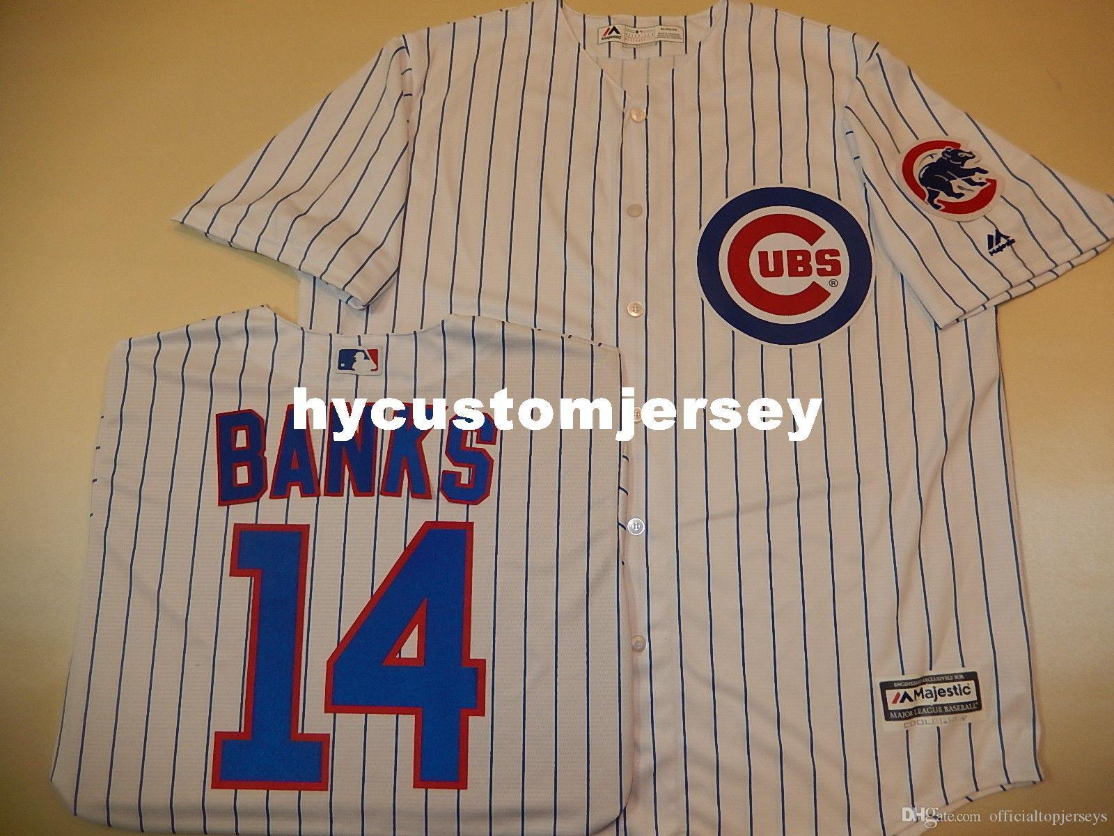 Cheap custom Chicago #14 ERNIE BANKS Cool Base Sewn Baseball Jersey W/Patch NEW Mens stitched jerseys Big And Tall SIZE XS-6XL For sale