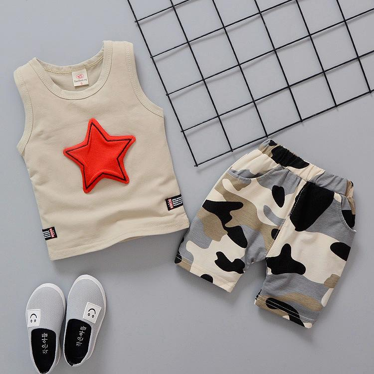 Fashion Boys kids clothes Set Girls children clothing 3 colors Stars Vest +Camouflage Shorts 2PCS Sets Kids Designer Clothes JY326