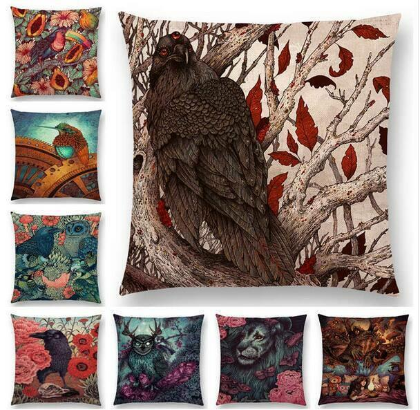 Page One Dark Magic Divination Three-eyed Crow Steampunk Linen Pillowcase Cushion Cover Home Decor Gift Single-sided Printing Pillow Case