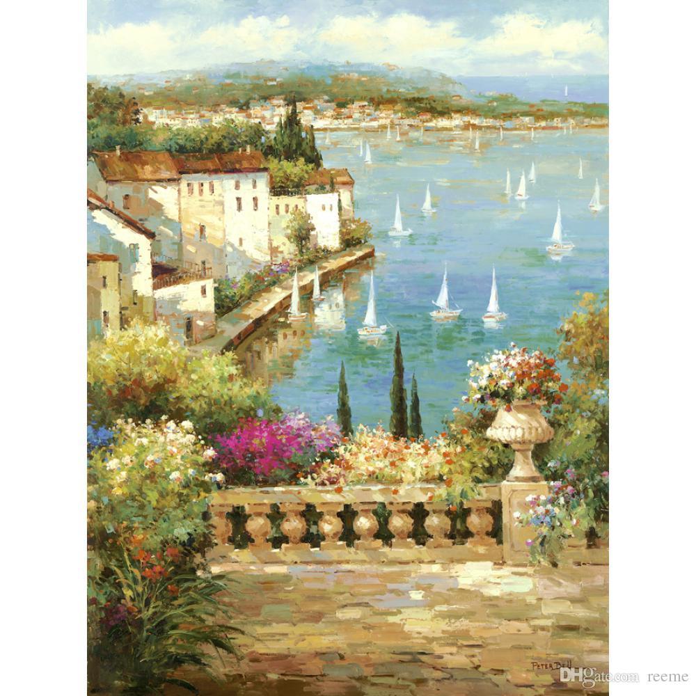 Compre Hermosa Pintura Al Óleo Paisajes Ocean Garden Pintados A Mano ...