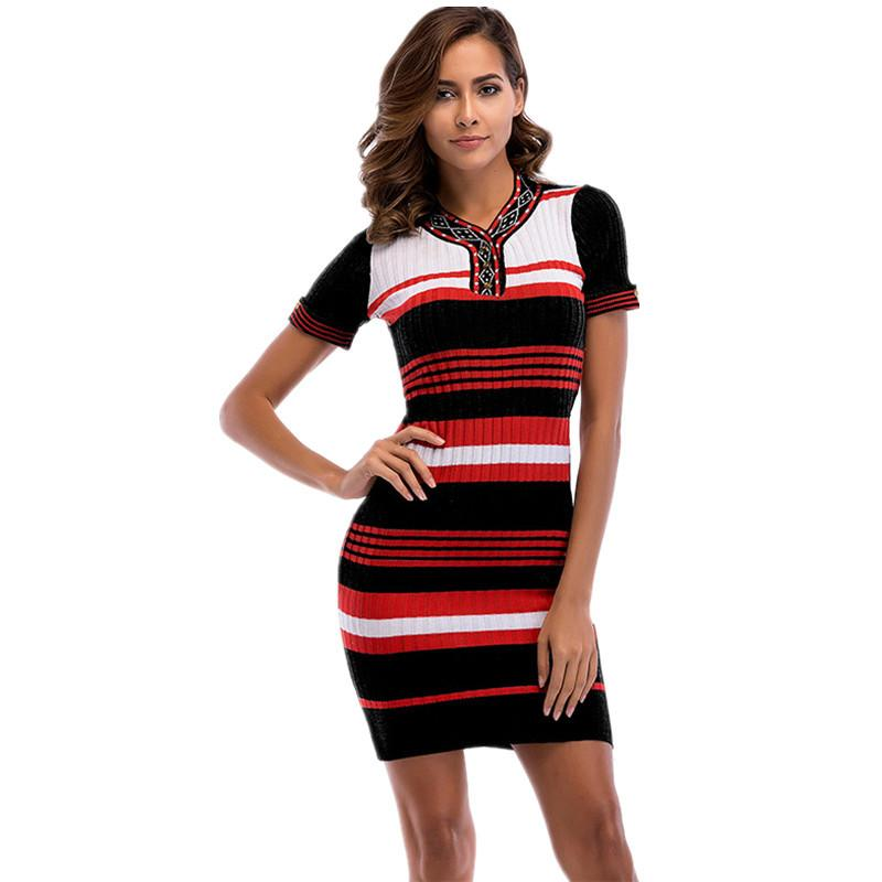 99024770e646c Satın Al 2019'da Kadınlar Için Yazlık Çizgili Örme Elbise, $25.13 |  DHgate.Com'da