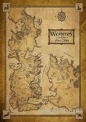 Game Of Thrones Houses Map Westeros World Map Art Silk Poster