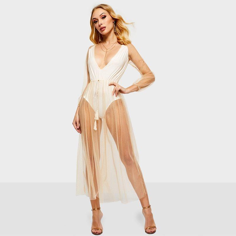 96cfc78acca40 Evening Party Golden See Through Sequin Mesh Long Dress Women Deep V Thin  Lace Up Robe Club Wear High Waist Maxi Dresses C19041501