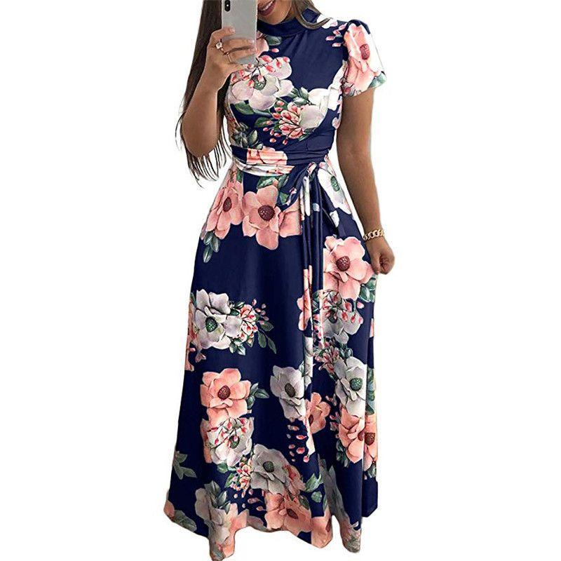 89c6d2027128 Vestido largo de mujer Maxi vestidos de verano 2019 estampado floral  vestidos de mujer Casual tamaño más elegante cuello de tortuga vendaje  manga ...