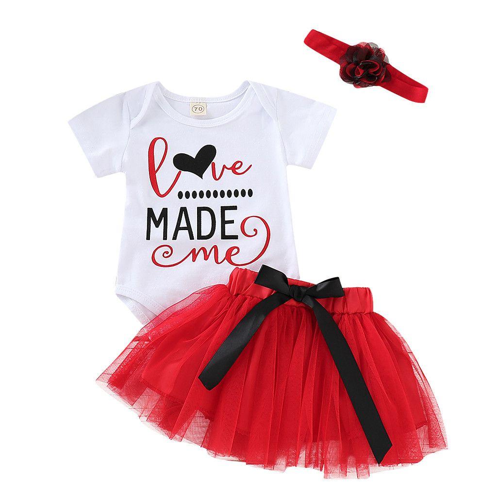 cb321707d25f Newborn Infant Baby Girl Letter Romper+Tutu Tulle Skirt Valentine Outfits  Set summer baby girl clothes roupa infanti Kidsl