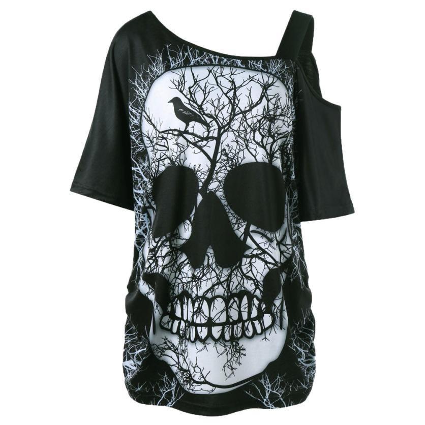 e415841f2d1fb8 2019 Women Summer One Shoulder Loose Top Tee Shirt Plus Size Skew Collar  Skull Print T Shirt Sexy Big Size T Shirt Women Funny T Shirts Shirt Design  From ...