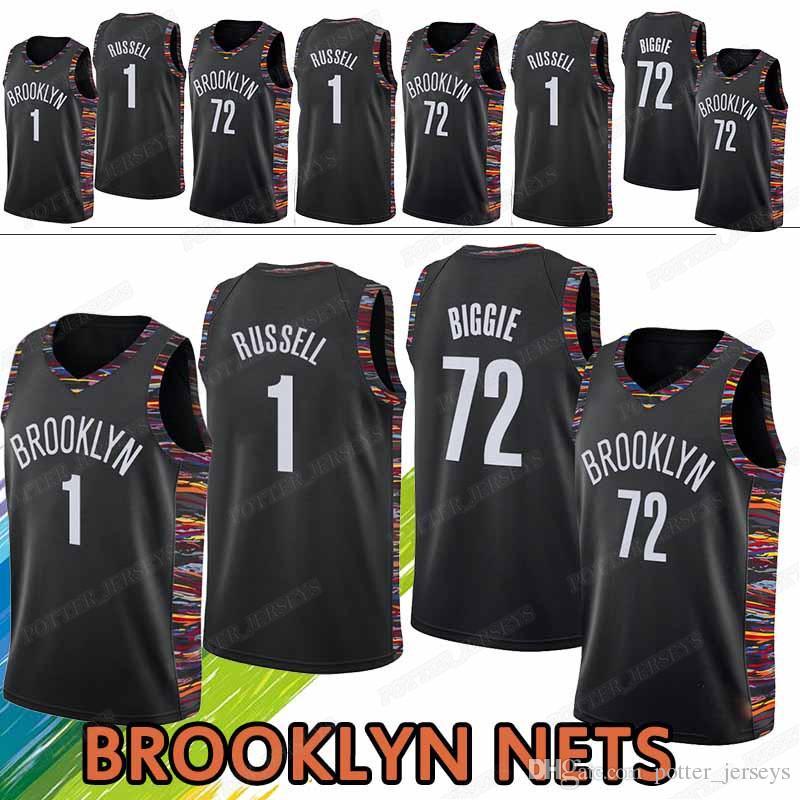 wholesale dealer 0a73d b21c1 BROOKLYN jerseys NETS D'Angelo 1 Russell Black 72 Biggie jerseys Maillots  de basketball top quality t shirt