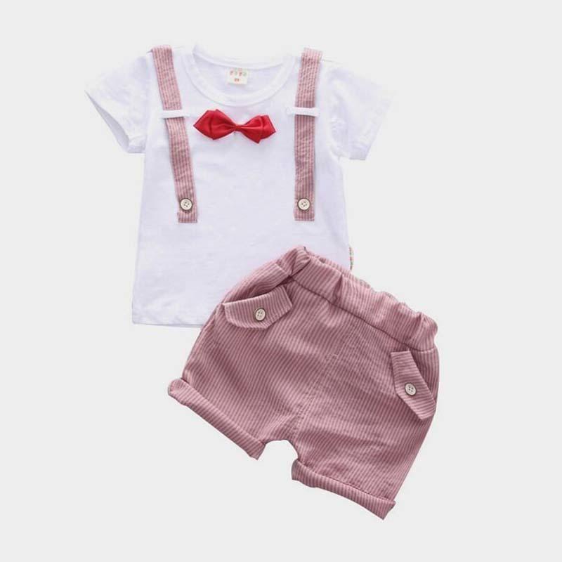 ff588e08e Compre Buena Calidad Verano 2019 Nuevos Bebés Varones Ropa Conjuntos  Camiseta + Pantalones Cortos Niño Corbata De Lazo Formal Niños Ropa  Conjuntos Niños ...