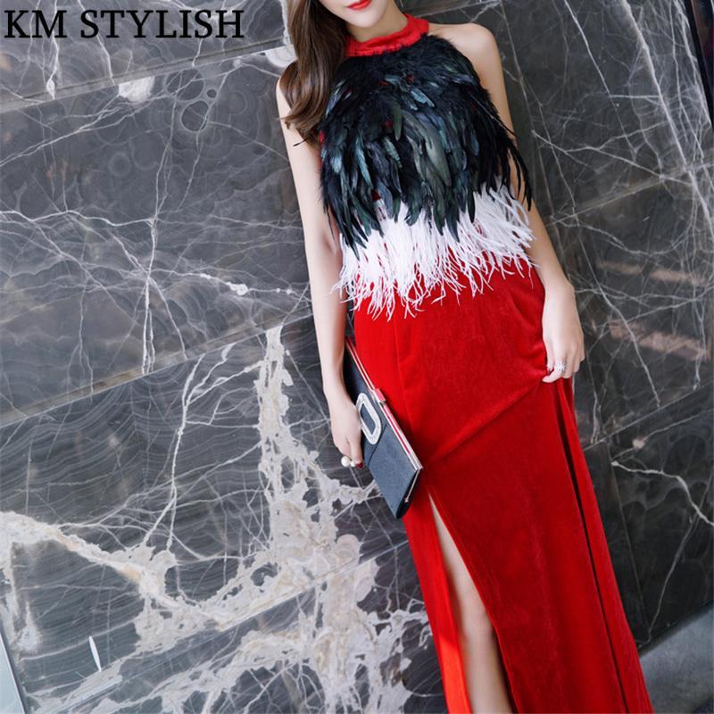 21443fea341 2018 Fall Winter New Celebrity Split Party Dinner Long Dress Ostrich  Feather Black Blue Red Velvet Female Dress White Cocktail Party Dresses  Shop Sundresses ...
