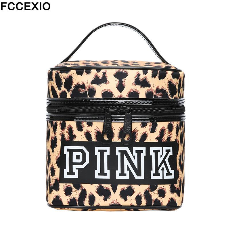 fd54d9228c7577 FCCEXIO Women NEW Fashion Love PINK Make Up Bag Women'S Large Capacity Handbag  Leopard Print Bag Cosmetic Bags & Cases Y181122 Cheap Cosmetics Cosmetic ...