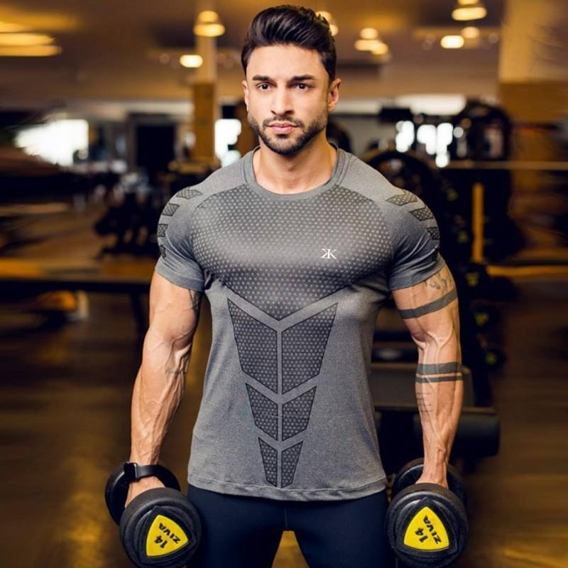 Bulking Rashgard Man Running Shirt Men Short Sleeve Soccer Jerseys Men's Compression Tights Fitness Sports Wear 2019