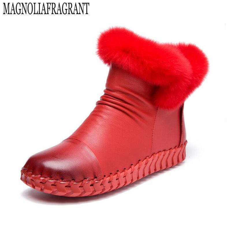 3787f87b4 Compre 2019 Zapatos Mujer Botas Sólido Hecho A Mano De Cuero Genuino Mujeres  Botas De Nieve Punta Redonda Plana Con Piel De Conejo De Invierno Botines  K237 ...