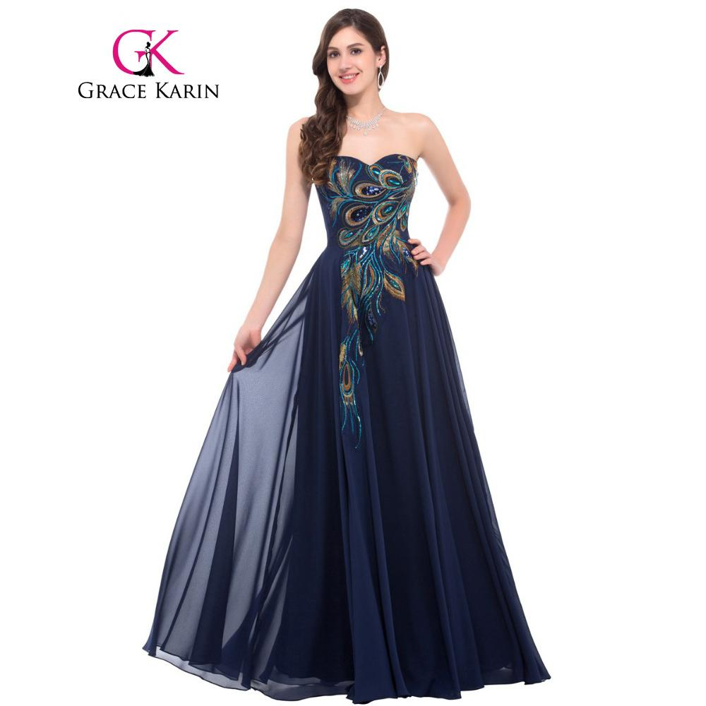 Grace Karin Strapless Peacock Evening Dress Long Chiffon Embroidery Formal  Evening Gowns Robe De Soiree Wedding Prom Dress 2018 D18122601 Online with  ... 1c0eccd92d85