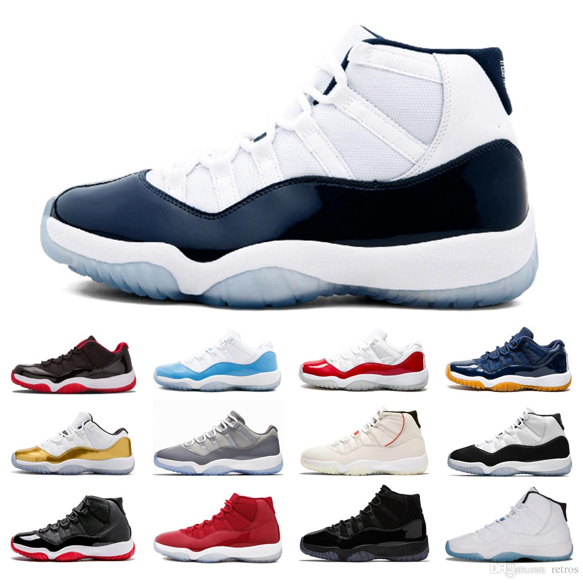 newest 0747e 02b7d Hot Top Mens Basketball Shoes Concord 11s Platinum Tint Navy gum Bred  Trainer sport sneakers women Prom Night Cap and Gown legend trainers