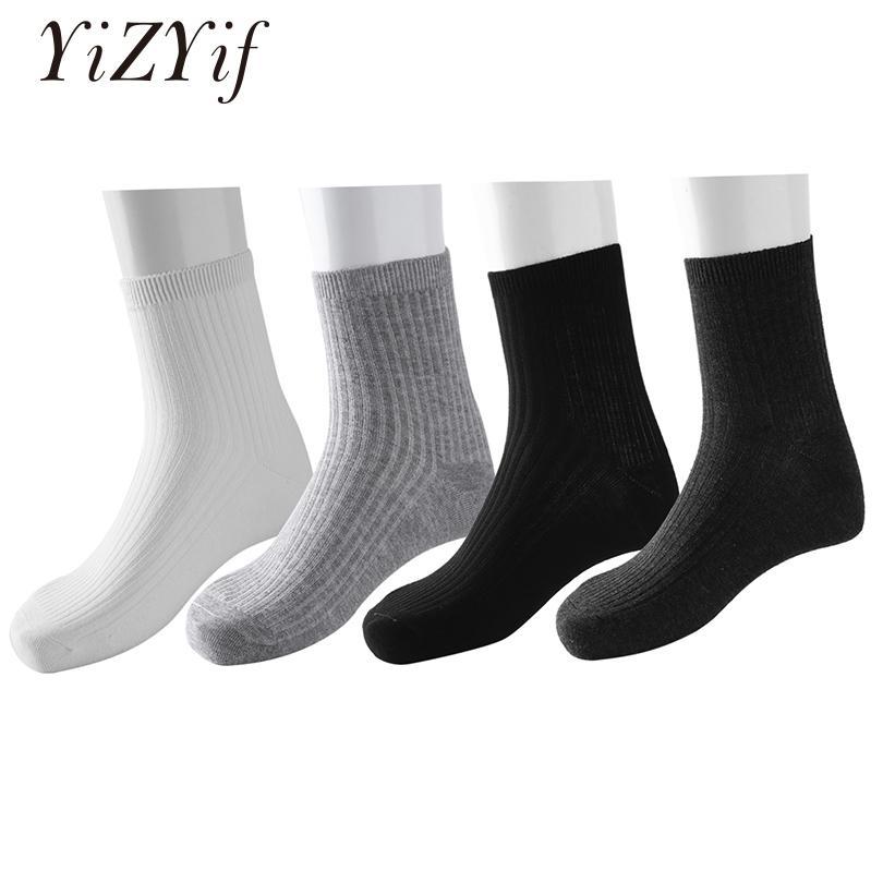 20eb9e07 4 pares calcetines de los hombres Calcetín de invierno Color sólido Rayado  Transpirable Over-the-Calf Vestido formal Negocio Calcetines de invierno ...