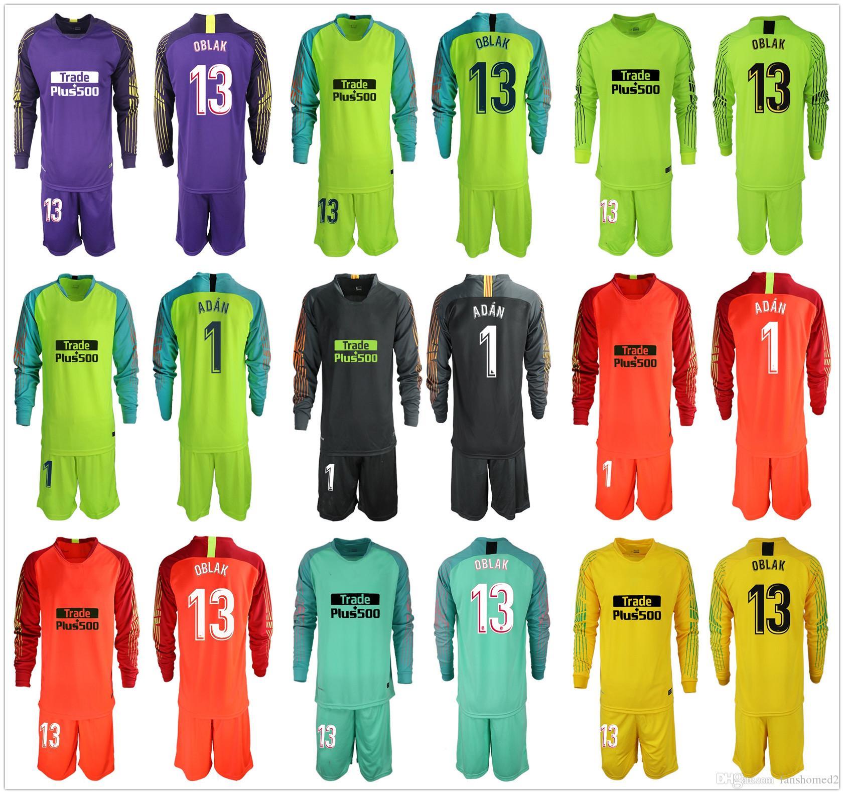d842eb9089 Compre 2018 2019 Adultos Camisas De Goleiro Long Oblak   1 Adan Conjuntos  De Futebol Adan 13 Jan Adan GK Jerseys Futebol Irlandês Uniforme Conjunto  De Terno ...