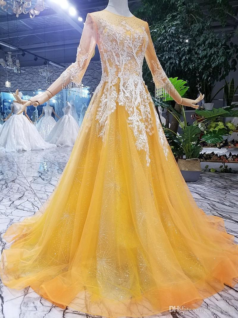 Vestido De Festa Para Gorda Real Imagem Amarelo Vestido De Baile Longo 2019  Jóia Lace Applique 3 4 Ilusão Manga Longa Africano Festa De Baile Vestido  De ... d729299774ef