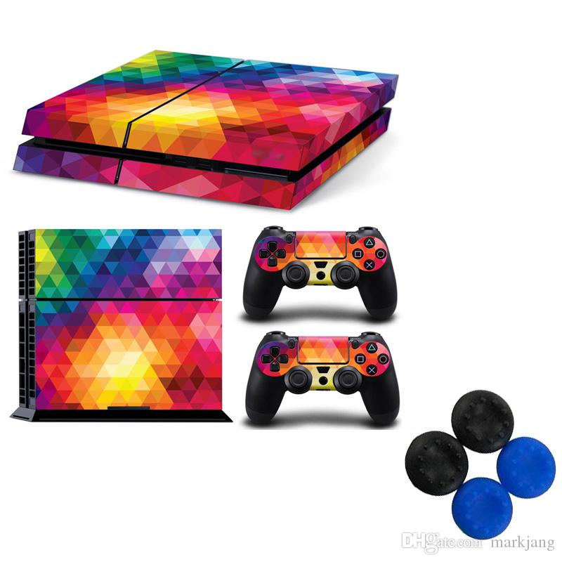 New Play Station 4 Jogos Anfitrião Adesivos Color Show Controlador Pele com Etiqueta Cap para Playstation 4 PS4 Game Play T-P4-098